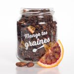 bocal de granola chocolat noir et orange sanguine