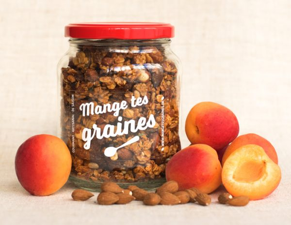 bocal de graines abricot amandes