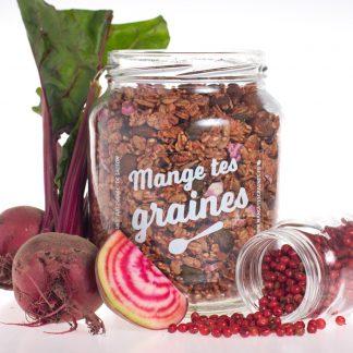 Bocal de granola betterave baies roses