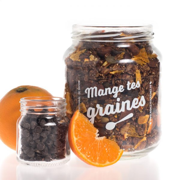 Bocal de graines chocolat agrumes