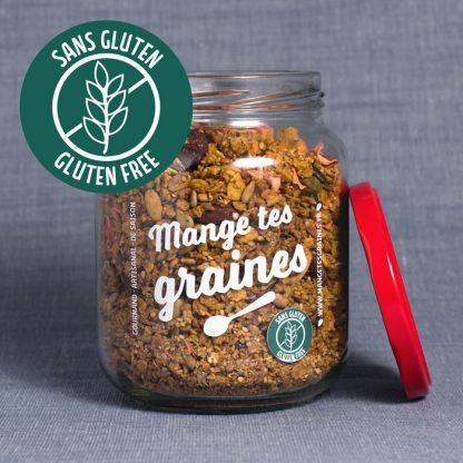 Bocal de granola salé carotte coriandre sans gluten