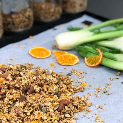 Essais de recette topping de graines fenouil agrumes