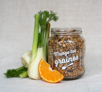 bocal de topping de graines salé au fenouil et agrumes